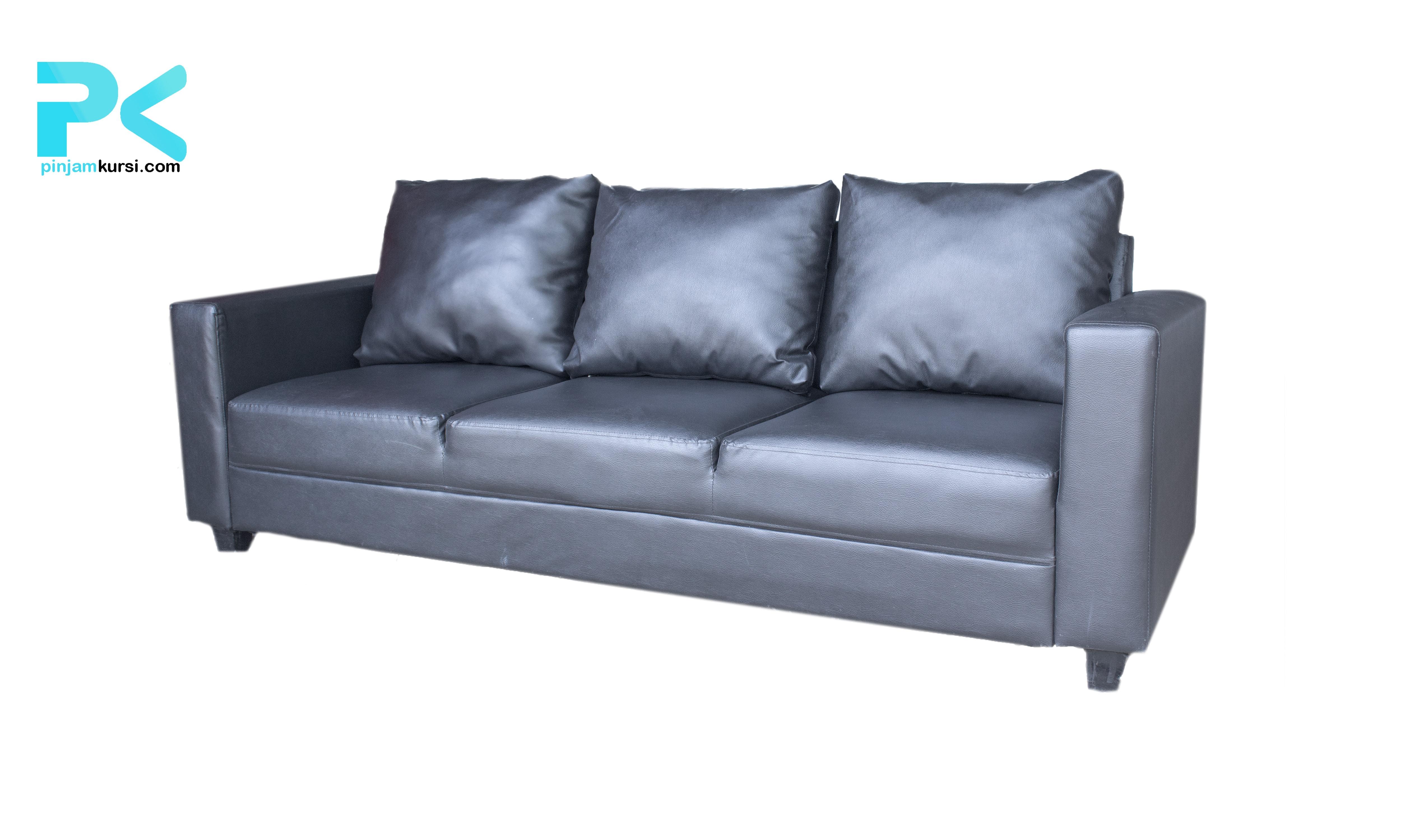 sewa sofa vip tiga seat warna hitam
