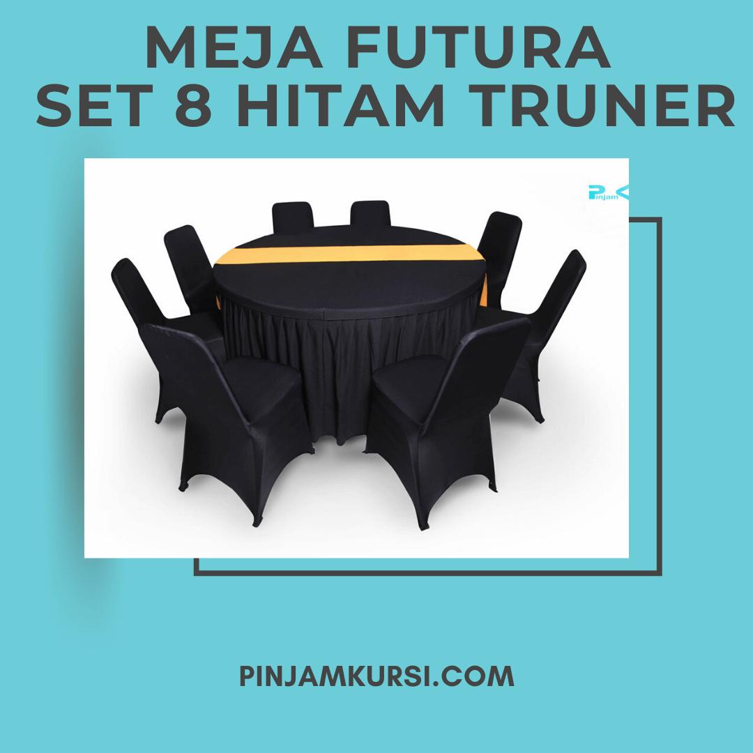 sewa meja futura set 8 hitam Truner