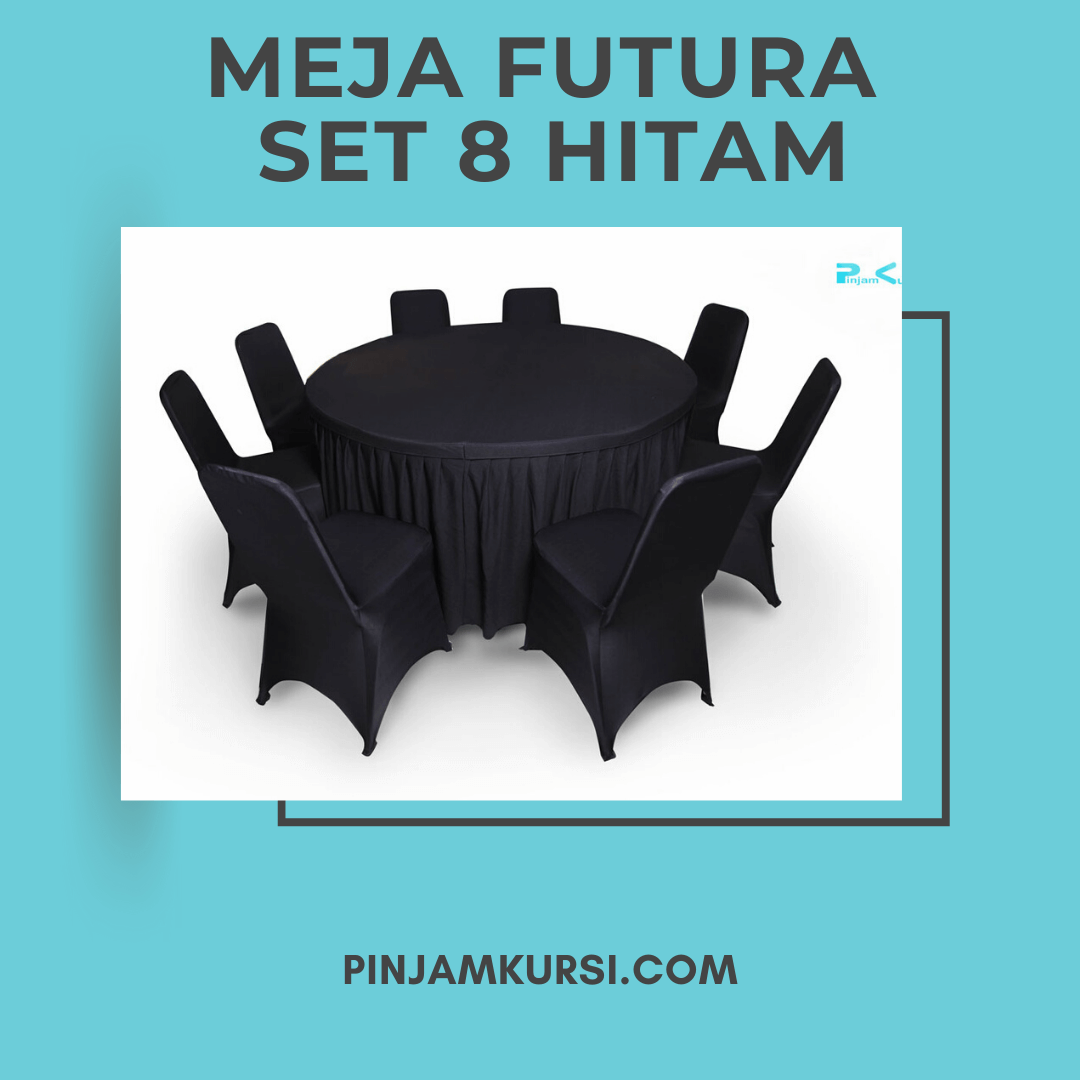 sewa meja futura set 8 hitam
