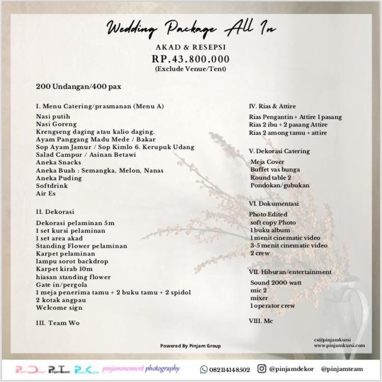 harga paket wedding